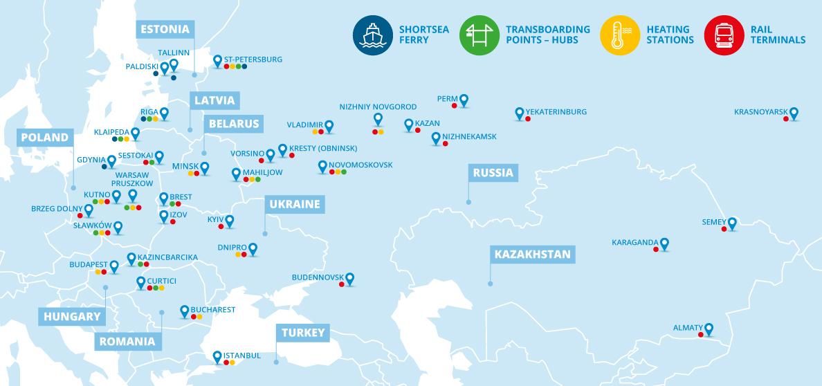 Haesaert Intermodal map destinations eastern Europe